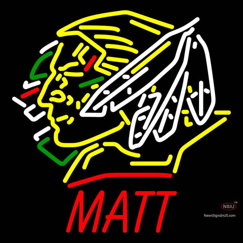 Custom North Dakota Fighting Sioux Matt Neon Sign