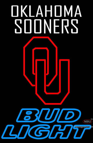 Oklahoma Sooners Bud Light Beer Neon Sign
