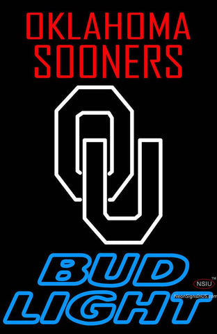 Oklahoma Sooners with Bud Light Neon Sign
