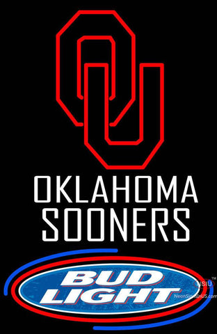 Oklahoma Sooners Bud Light Logo Neon Sign
