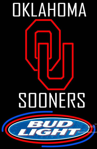 Oklahoma Sooners with Bud Light Logo Neon Sign