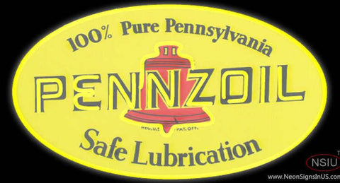 Pennzoil Logo Safe Lubrication Real Neon Glass Tube Neon Sign