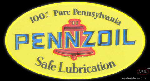 Pennzoil Safe Lubrication Real Neon Glass Tube Neon Sign