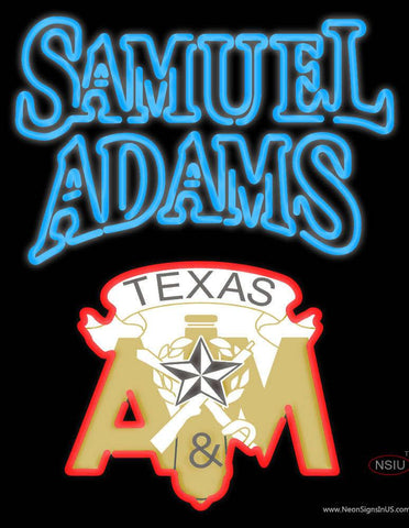 Samuel Adams with Texas A And M Logo Real Neon Glass Tube Neon Sign