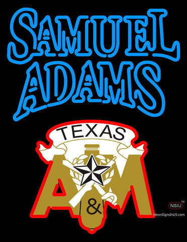 Samuel Adams with Texas A And M Logo Neon Sign