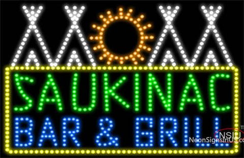 Custom Saukinac Bar And Grill Logo Led Sign