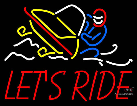 Custom Snowmobile Above Lets Ride Neon Sign