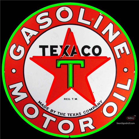 Texaco Motor Oil Gasoline Neon Sign