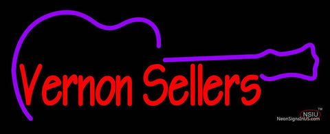 Custom Vernon Sellers With Guitar Neon Sign