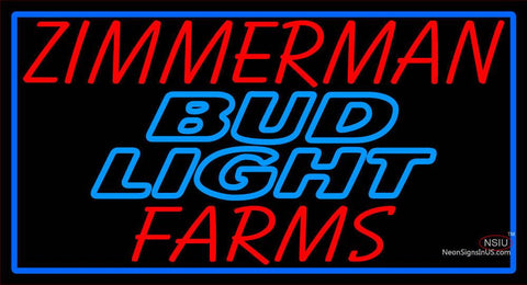 Custom Zimmerman Farms Budlight Neon Sign