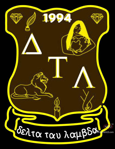 Delta Tau Lambda Latina Greek Logo Neon Sign