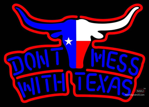 Dont Mess With Texas Longhorn Two Color Neon Sign