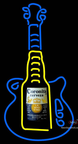 Guitar Coronita Cerveza Neon Sign