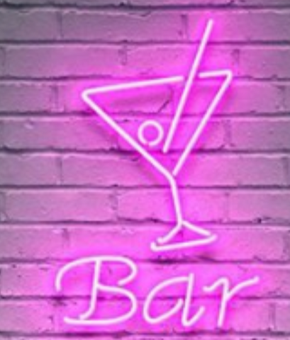 martini glass bar neon sign