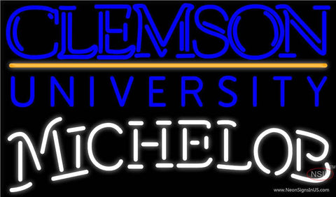 Michelob Clemson UNIVERSITY Real Neon Glass Tube Neon Sign