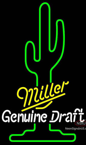 Miller Genuine Draft Saguaro Cactus Neon Beer Sign