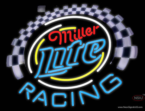 Miller Lite Racing Real Neon Glass Tube Neon Sign