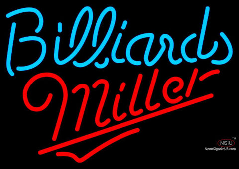 Miller Neon Billiards Text Pool Neon Beer Sign  7