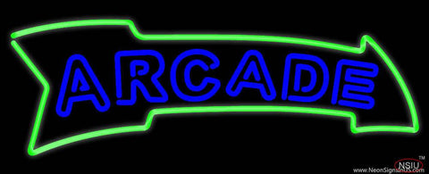 Blue Double Stroke Arcade Real Neon Glass Tube Neon Sign