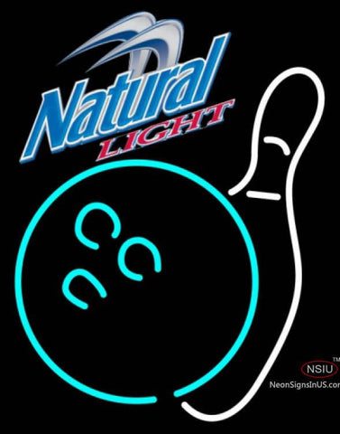 Natural Light Bowling Neon White Neon Sign
