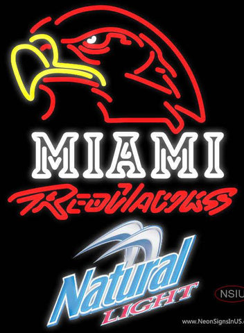 Natural Light Miami UNIVERSITY Redhawks Real Neon Glass Tube Neon Sign