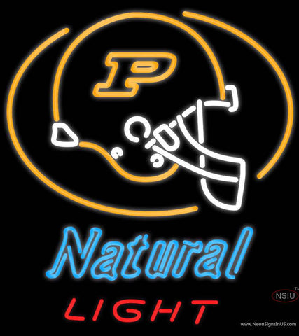 Natural Light Purdue University Boilermakers Helmet Real Neon Glass Tube Neon Sign