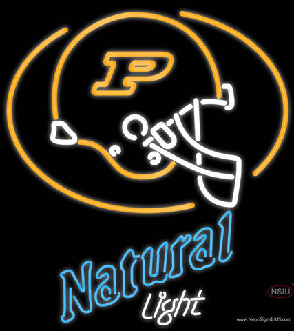 Natural Light with Purdue University Boilermakers Helmet Real Neon Glass Tube Neon Sign