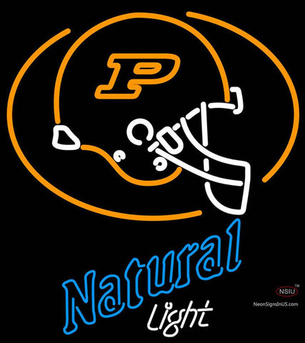 Natural Light with Purdue University Boilermakers Helmet Neon Sign