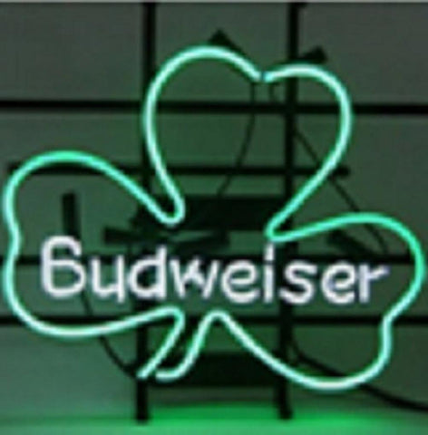 New Budweiser Lucky Leaf Shamrock Beer Bar Pub Neon Light Sign