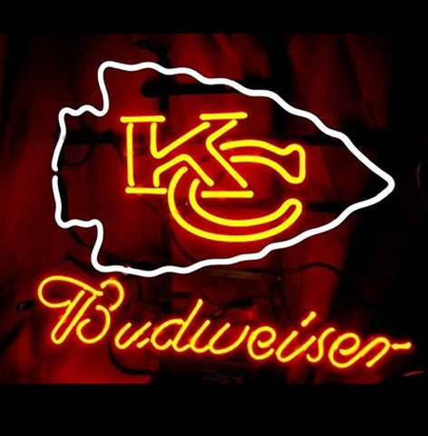 Nfl Kansas City Chiefs Budweiser Beer Neon Sign
