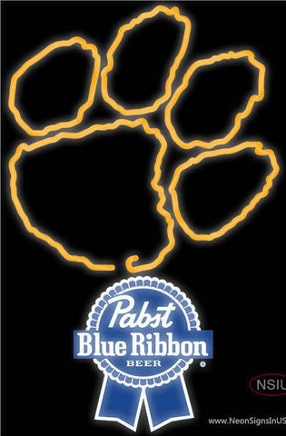 Pabst Blue Ribbon Clemson UNIVERSITY Tiger Print Real Neon Glass Tube Neon Sign