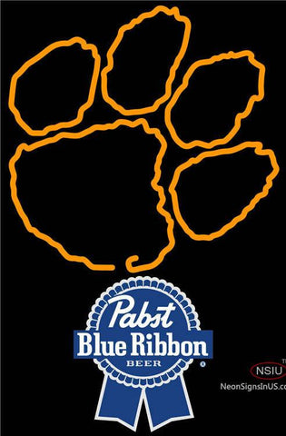 Pabst Blue Ribbon Clemson UNIVERSITY Tiger Print Neon Sign