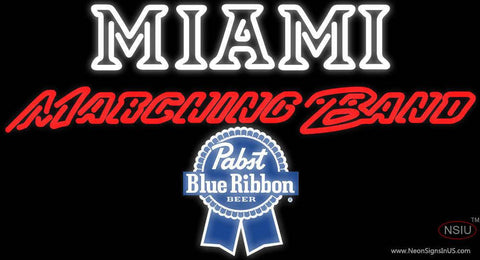 Pabst Blue Ribbon Miami UNIVERSITY Band Board Real Neon Glass Tube Neon Sign