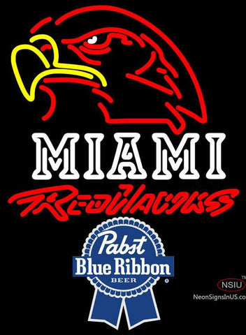 Pabst Blue Ribbon Miami UNIVERSITY Redhawks Neon Sign