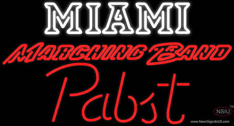 Pabst Miami UNIVERSITY Band Board Real Neon Glass Tube Neon Sign