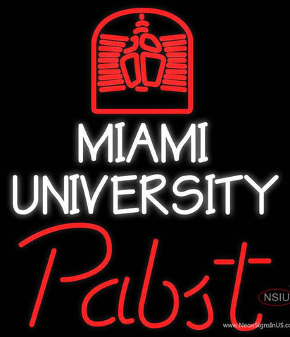 Pabst Miami UNIVERSITY Real Neon Glass Tube Neon Sign  7