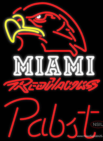 Pabst Miami UNIVERSITY Redhawks Real Neon Glass Tube Neon Sign