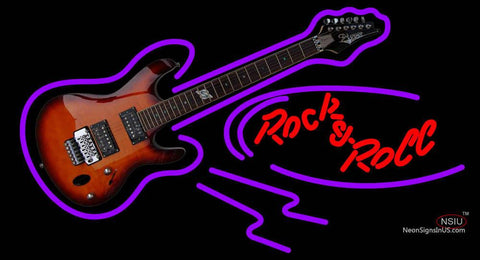 Rock N Roll Electric Guitar Neon Sign