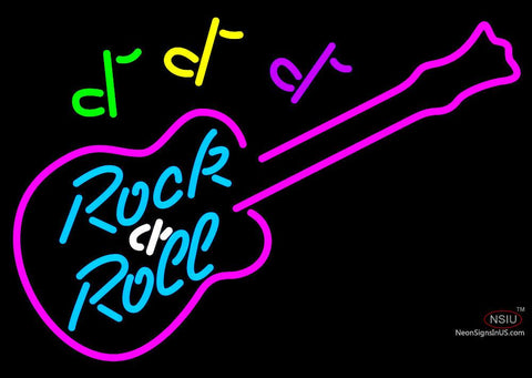 Rock N Roll Guitar Neon Bar Sign