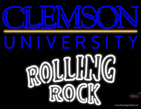 Rolling Rock Double Line Clemson UNIVERSITY Real Neon Glass Tube Neon Sign