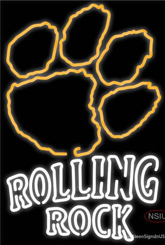 Rolling Rock Double Line Clemson UNIVERSITY Tiger Print Real Neon Glass Tube Neon Sign