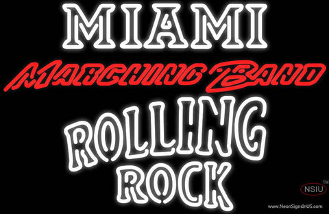Rolling Rock Double Line Miami UNIVERSITY Band Board Real Neon Glass Tube Neon Sign