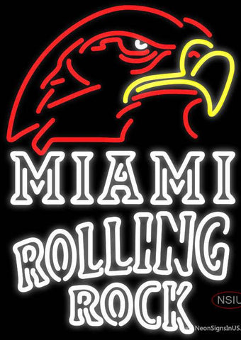 Rolling Rock Double Line Miami UNIVERSITY Fall Session Real Neon Glass Tube Neon Sign