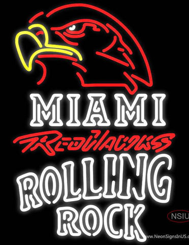 Rolling Rock Double Line Miami UNIVERSITY Redhawks Real Neon Glass Tube Neon Sign