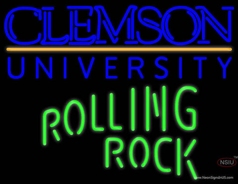 Rolling Rock Single Line Clemson UNIVERSITY Real Neon Glass Tube Neon Sign  7