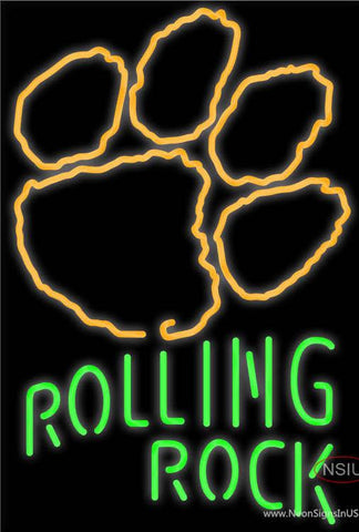 Rolling Rock Single Line Clemson UNIVERSITY Tiger Print Real Neon Glass Tube Neon Sign