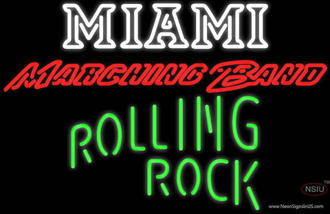 Rolling Rock Single Line Miami UNIVERSITY Band Board Real Neon Glass Tube Neon Sign