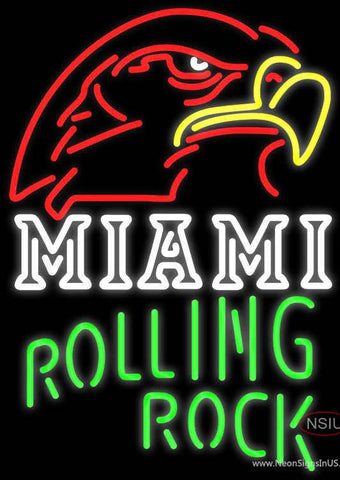 Rolling Rock Single Line Miami UNIVERSITY Fall Session Real Neon Glass Tube Neon Sign