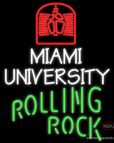 Rolling Rock Single Line Miami UNIVERSITY Real Neon Glass Tube Neon Sign