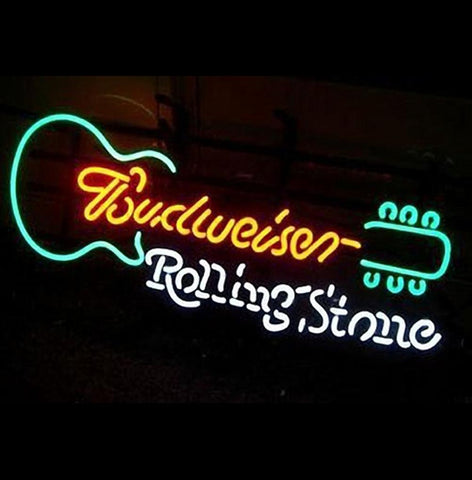 Rolling Stone Guitar Budweiser Neon Light Sign